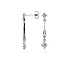 Diamond Stick Drop Earrings in 14k White Gold   #Wedding #Jewelry #Style