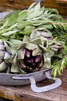Artichoke and herbs