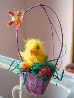 Spun cotton feather chick Easter basket ornament OOAK by jejemae