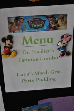Disney Family Movie Night - Princess and the Frog menu Disney Menus, Disney Dinner, Disney Family Movies, Kid Movies, Mother In Law Tongue, Dinner And A Movie, Family Theme, Dinner Themes, Family Movie Night