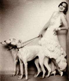 1920s fashion with hounds, a trend started by the eccentric Marchesa Luisa Casati