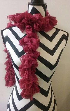 Crocheted Red Lace Ruffle scarf. Scarves and by DuvallsDesigns