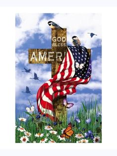 A soft blue sky with white, fluffy clouds serves as the backdrop for this Christian Americana scene. American Flag Pictures, Patriotic Pictures, Patriotic Quotes, Patriotic Crafts, I Love America, God Bless America, Happy Sunday Quotes, July Quotes, Blessed Quotes