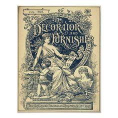 Vintage Art Nouveau 1893 Magazine Cover Poster - decor gifts diy home & living cyo giftidea