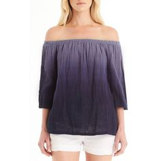 Women's Michael Stars Off The Shoulder Top ($148) ❤ liked on Polyvore featuring tops, blouses, cosmic blue, ombre blouse, off the shoulder tops, ombre top, sexy off shoulder tops and purple off shoulder top