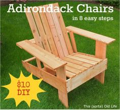 Adirondack chairs look great and with the wide arms they are very practical as you can rest cups, plates and books etc on them. They are also very comfortable, and apparently cheap and quick/easy to make. $10 or cheaper and around 2 hours of your…