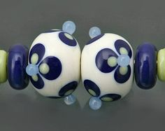 firette n.1 set of 4 pcs handmade lampwork beads by inagro