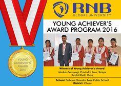 Muskan Sarawagi Pravindra Kaur Taniya Savitri Khati Maya are the Winners of Young Achievers Award 2016 of Subhas Chandra Bose Public School Churu    #RNBGU #Bikaner #winners