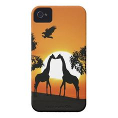 Giraffe silhouette at sunset iPhone 4s case
