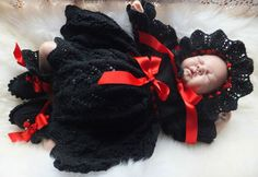 "i*believe*in*angels DIVINE BLACK 3 PIECE DRESS SET FOR A NEWBORN / REBORN BABY | eBay 16"" chest.  £39.00"
