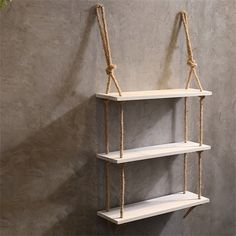 CRS-ZBBZ Wall-mounted Partition Shelf 3 Tiers Wood Wall Shelf With Hemp Rope Shelves Wall Hanging for Living Room as Bookshelf Storage Rack(Color : White) Wall Hanging Shelves, Rope Shelves, Wooden Wall Shelves, Wooden Walls, Floating Shelves, Diy Home Crafts, Easy Home Decor, Diy Room Decor, Wood Crafts