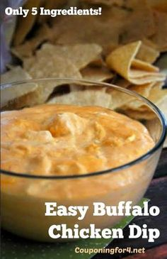 Easy Buffalo Chicken Dip Recipe - unbelievably simple to make, this appetizer will take you only minutes! Also, a gluten free recipe if you make sure that your ranch is gluten free! Perfect for game day, game night or anytime!