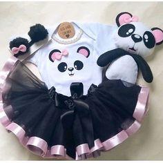 Panda Birthday, Baby Girl Birthday, Girls Party Dress, Birthday Dresses, Gold Flower Girl Dresses, Panda Party, Doll Patterns, Little Babies, Kids Fashion