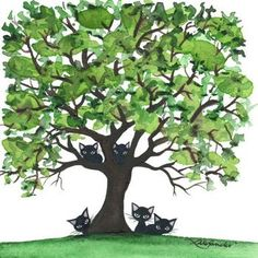 Cats in Trees Artwork No.3 by Lori Alexander #straycatart ♥•♥•♥