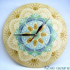 Sureng-Arta wooden mandala clock from azart_group by dawanda Dot Painting, Painting Patterns, Clock Art, Wall Clocks, Decoupage, Mirror Mosaic, India Art, Mandala Dots, Mandala Drawing