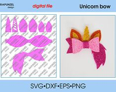 Diy Crafts - Unicorn bow Template SVG Cut File hairbow template for cricut Hair Ribbons, Diy Hair Bows, Diy Bow, Bow Template, Templates, Rapunzel, Frozen Hair Bows, Bow Pattern, Bow Design