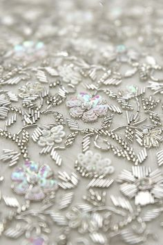 Frost Sequin Beads And French Wire Hand Embroidered Jacket Bead Embroidery Tutorial, Bead Embroidery Patterns, Hand Work Embroidery, Bead Embroidery Jewelry, Hand Embroidery Designs, Beaded Embroidery, Zardosi Embroidery, White Embroidery, Couture Beading