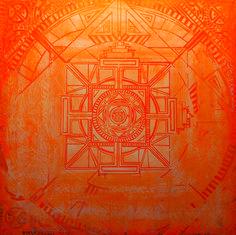 """Mandala odkryta"", technika mieszana na płycie #art #painting #mandala"