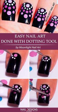 nail designs easy step by step \ nail designs easy & nail designs easy simple & nail designs easy step by step & nail designs easy diy & nail designs easy classy & nail designs easy cute & nail designs easy spring & nail designs easy acrylic Dot Nail Art, Nail Art Diy, Easy Nail Art, Diy Nails, Nail Art Dotting Tool, Nail Nail, Dotting Tool Designs, Nail Glue, Top Nail
