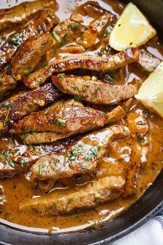 Pan-Seared Steak in Butter Sauce - Hyper simple and so aromatic, most . - Pan-Seared Steak in Butter Sauce – Hyper simple and so aromatic, most delicacies … - Steak Recipes Pan, Seared Steak Recipe, Seared Salmon Recipes, Skirt Steak Recipes, Pan Seared Steak, Beef Recipes, Cooking Recipes, Healthy Recipes, Simple Steak Recipes