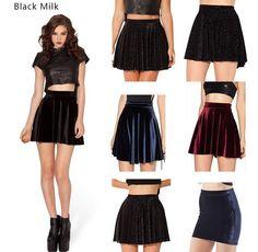 Womens Sexy High Waist Skater Velvet Mini Skirt Plain Flared Pleated  XS-XXL #Handmade #Mini