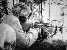 A Finnish soldier on the Mannerheim Line defences.1940