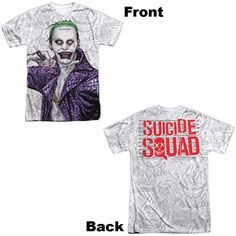 Suicide Squad Across The Throat Adult Tee - Front/Back Print - Officially Licensed - High Quality - Front and Back Print - This item is hand-printed in the USA using a dye sublimation printing process