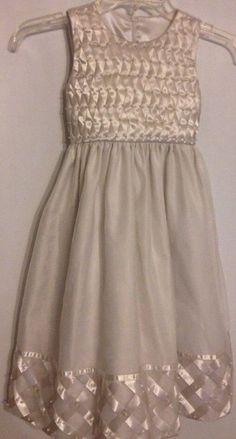 Cinderella Dress 6X Off-White With Ribbon & Pearls Detailing Beautiful Wedding #Cinderella #ChurchFlowerGirlBirthdayGraduationRecitalFirstHolyChristeningBridesmaidChristmasDressyHolidayPageantPartyPromWeddingEaster