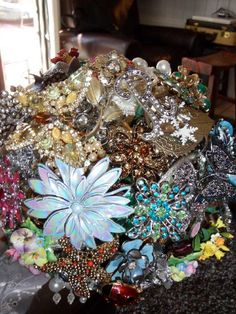 bouquet made of antique brooch and jewlery rescued from flea markets, yard sales and attics...