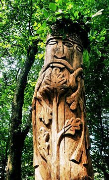 The statue of the god Perun, the mountain top Perun in the park Nature Park Učka, Croatia.