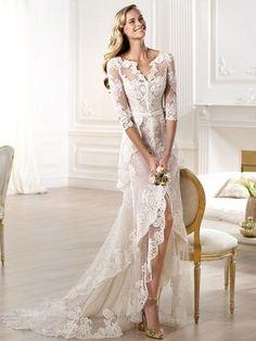 Sheath/Column V-neck Asymmetrical 3/4 Sleeves Tulle Lace Wedding Dresses at HerDress Online