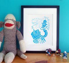Cute retro robot love print