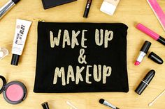 New to elsieandnell on Etsy: Wake Up and Makeup - Black and Gold Glitter - Makeup Bag Cosmetic Bag Organiser Zipper Zip Pouch Clutch Bag (15.00 GBP)
