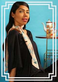 Such a cute cravate style knot by Cléo Ferin Mercury Ways To Tie Scarves, Silk Scarves, Scarf Knots, Mercury, Spring Summer, Sari, Design, Style, Fashion