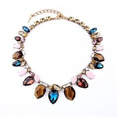 YoyoDong Colorful crystal diamond necklace flower bib women * Read more  at the image link.