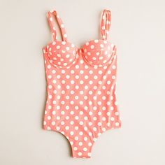 Pink polka dot one piece swimsuit