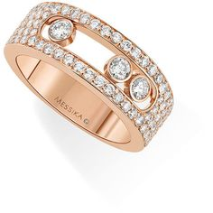 Messika Move Addiction Diamond Bezel Ring in 18K Pink Gold, Size 54