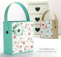 Stampin' Up! UK Independent Demonstrator Pootles - Hinged Handled Pretty Bag Tutorial