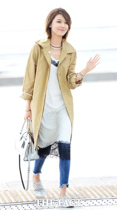 Sooyoung Airport Style, Airport Fashion, Sooyoung Snsd, Soo Young, Korean Artist, Girls Generation, Yuri, Duster Coat, Jackets