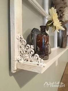 I love decorating with old windows. They add warmth, interest and there's a lot of history in those panes! When I saw this window laying in a… window ideas Adding a Shelf to an Old Window Old Window Frames, Window Shelves, Window Art, Window Frame Ideas, Window Frame Crafts, Window Ledge, Window Photo Frame, Window Wall Decor, Room Window