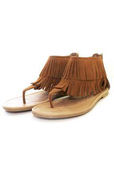 Fringe Flat Sandals