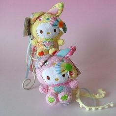 Set Of 4 ! Very Cute * Hello Kitty* Colorful Bunny Plush Toy Dolls Mascot Charms