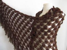 Christmas gift Dark Brown shawlCrochet shawl wedding by asuhan, $70.00