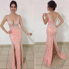 Cheap dresses pink, Buy Quality dress point directly from China dress fur Suppliers: Hot Sexy Deep V Neck Mermaid Prom Dress 2017 Gorgeous Sequins Pink Lace Formal Evening Dresses Beading Backless Robe De Soiree