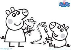 Printable Peppa Pig Coloring Pages. Have a Joy with Peppa Pig Coloring Pages. Do your children like to color pictures? If they do, the Peppa pig coloring pages Peppa Pig Coloring Pages, Family Coloring Pages, Cartoon Coloring Pages, Christmas Coloring Pages, Coloring Book Pages, Coloring Pages For Kids, Peppa Pig Familie, Peppa Pig Pictures, Peppa Pig Y George