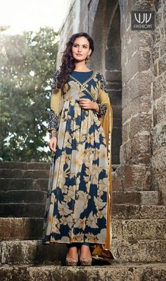 Attractive Off White And Blue Georgette Anarkali Salwar Suit Attractive off white and blue georgette anarkali salwar suit with printed, resham, lace and patch border work.