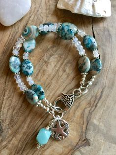 Crazy lace agate and rainbow moonstone double strand bracelet