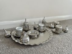 Turkish Coffee Gift Set Complete Set for 6 Silver Colour Looking for something to liven up your coffee routine? Here is the beautiful and functional coffee serving set will brighten your coffee table. It is a perfect set for coffee lovers and a stunning gift for your loved ones. Coffee Gift Sets, Coffee Gifts, Coffee Set, Turkish Coffee, Coffee Lovers, Silver Color, Espresso, Retro Vintage, Routine