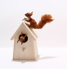 OOAK Realistic Miniature Mother Squirrel and Baby  by by malga1605