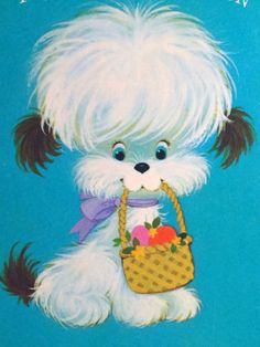 112 60s Mod Dog w Basket Vintage Easter Greeting Card | eBay